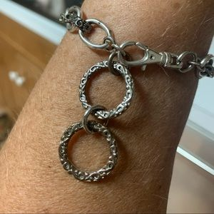 Silver Braclet with 2 hanging circles